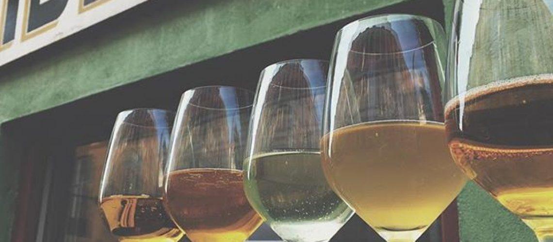Fem ciderglas på Ciderbar